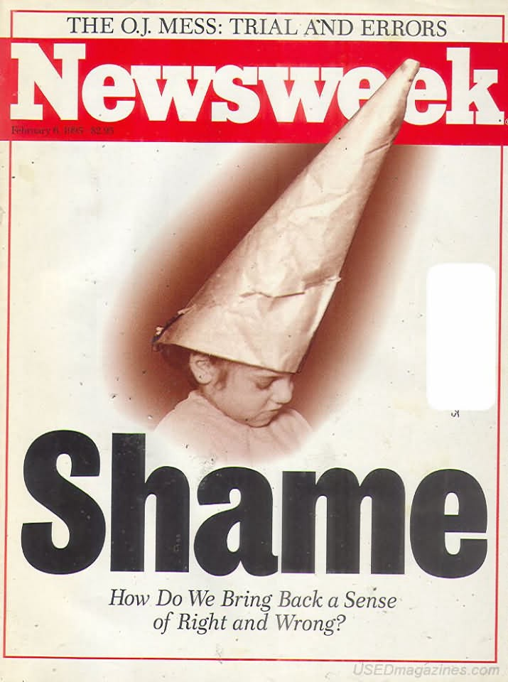 """Newsweek cover from 1995 titled """"Shame"""" with child being shamed."""