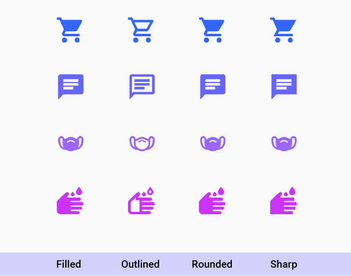 Sample of 4 icons: shopping_cart, chat, masks, wash shown in the 4 supported styles: filled, outlined, rounded, sharp.