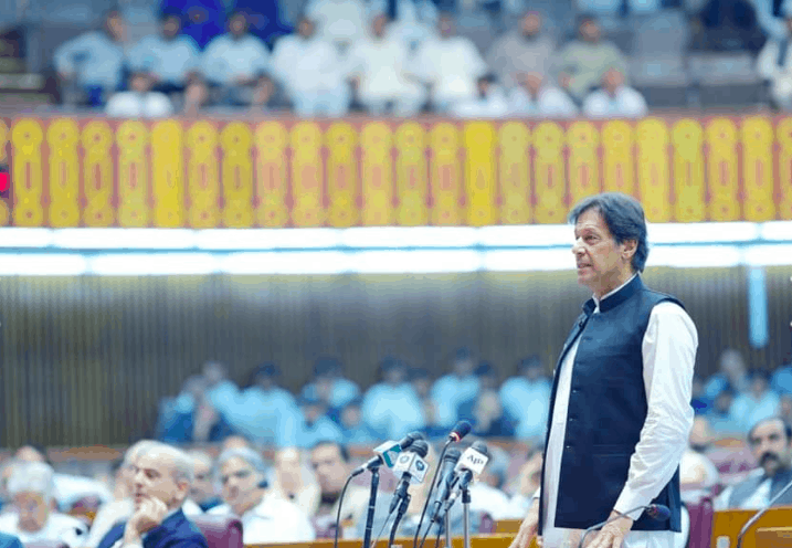 Imran Khan, Pakistan Prime Minister, addresses a crowd