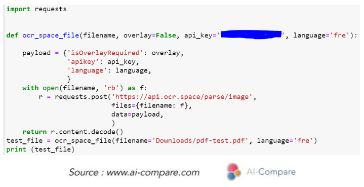 AI-Compare & Optical Character Recognition (OCR): OCR Space