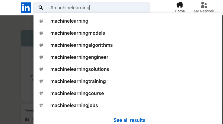 You can see how many followers the specific LinkedIn hashtag has