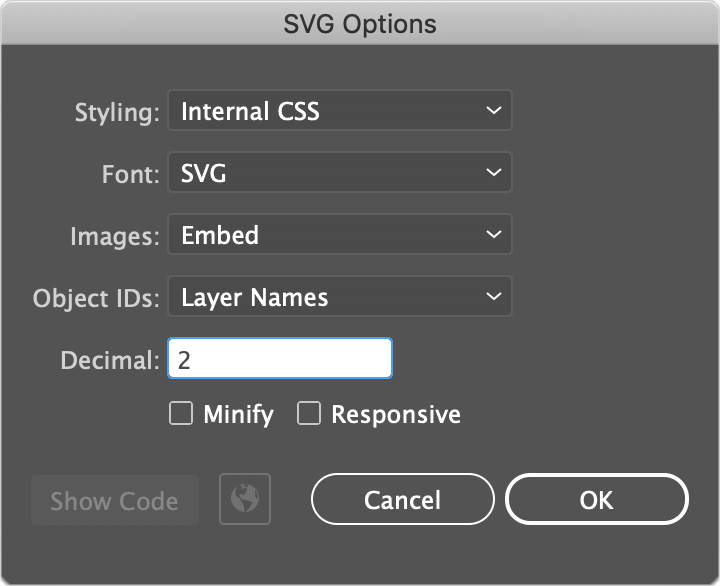 SVG Export Settings for Custom CSS Animations | Adobe