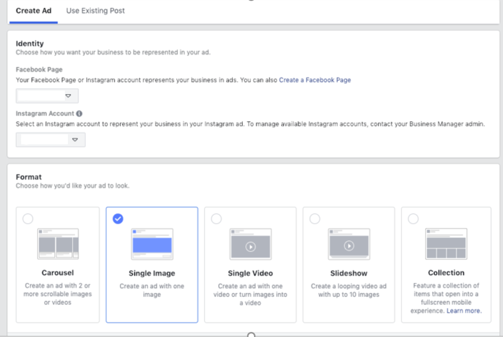 Facebook Ads Manager enables you to choose creative form of the ads | Source: Facebook