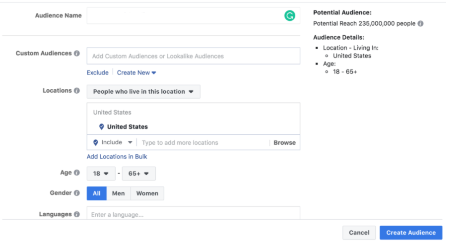 Target Audience on Facebook Ads Manager | Source: Facebook