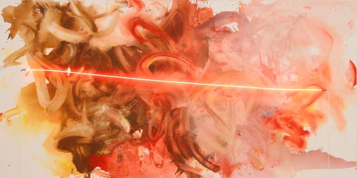 Large horizontal painting in red, orange, and brown, with a neon light slashing through the center.