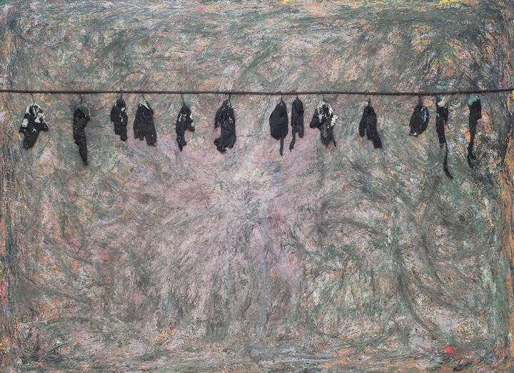 Painting of blackbirds hanging from a wire against a murky background.