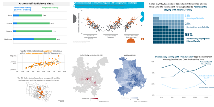Collage of data visualizations from Learning Cohort Challenge presentations.