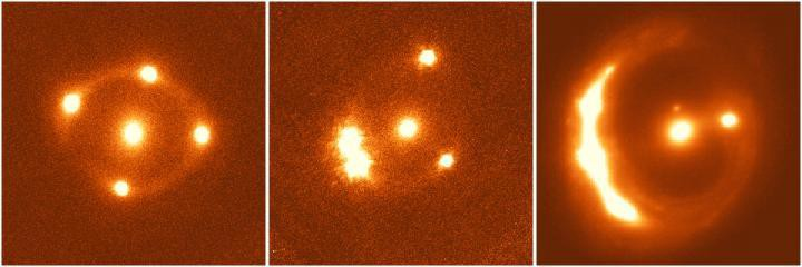 Light from distant galaxies bent by gravity from more nearby galaxies.