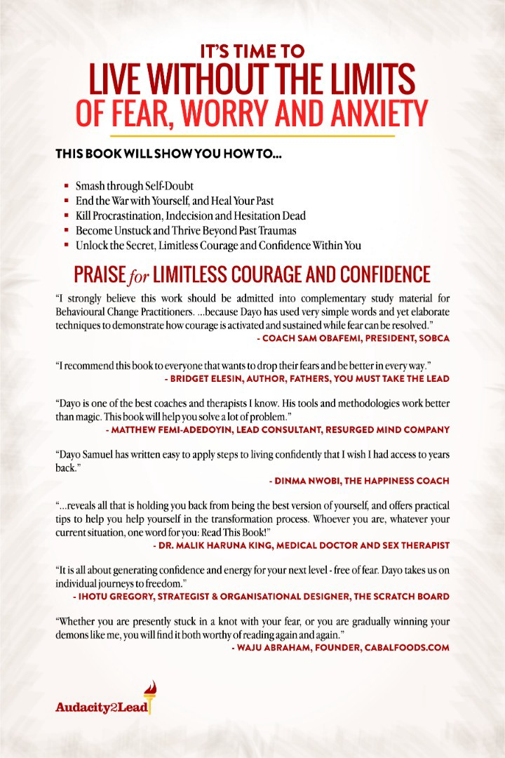 LIMITLESS COURAGE AND CONFIDENCE BY DAYO SAMUEL - Elizabeth