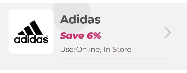 "Ripple Effect on Android over a card saying ""Adidas: Save 6%"" with an image"
