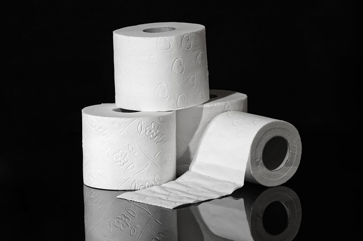 A small pile of toilet rolls