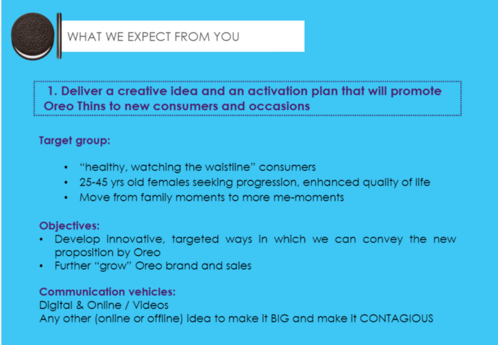 The Oreo Thins project - AD DISCOVERY AND CREATIVITY LAB