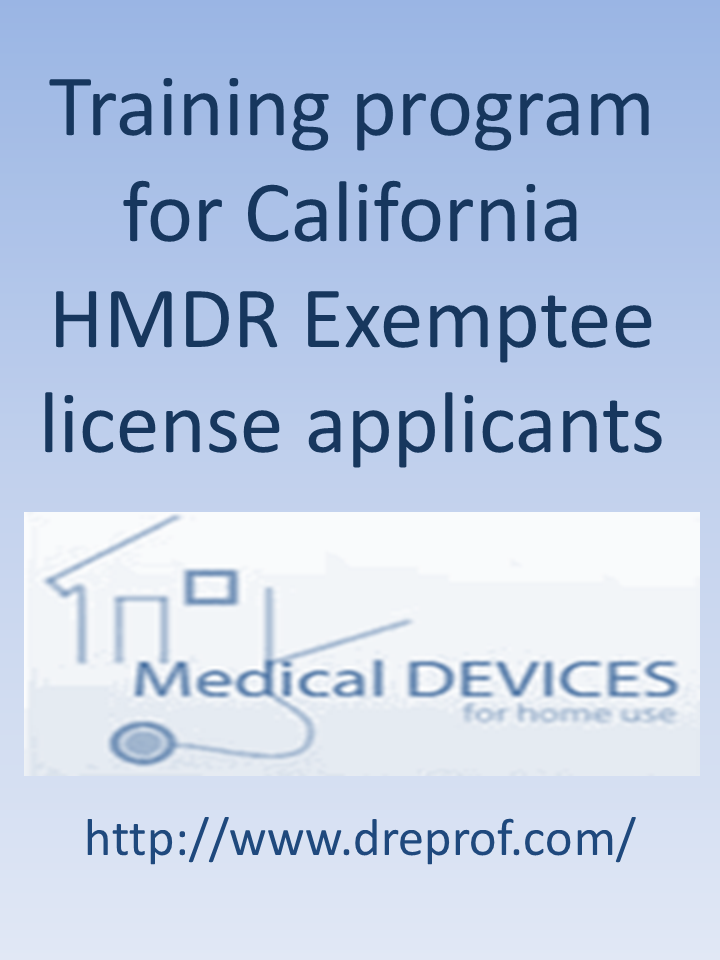 California HMDR Exemptee Training—by SkillsPlus International Inc.—$525 per student—State approved by the CDPH