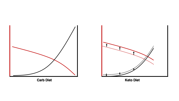 Shift in crossover of fuel utilization when on keto diet.