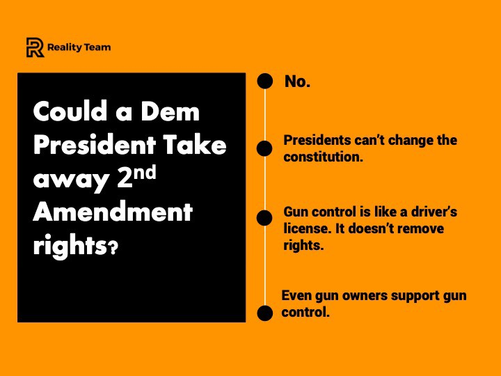 Could a Dem president take away Second Amendment rights? No. Presidents can't change the constitution.