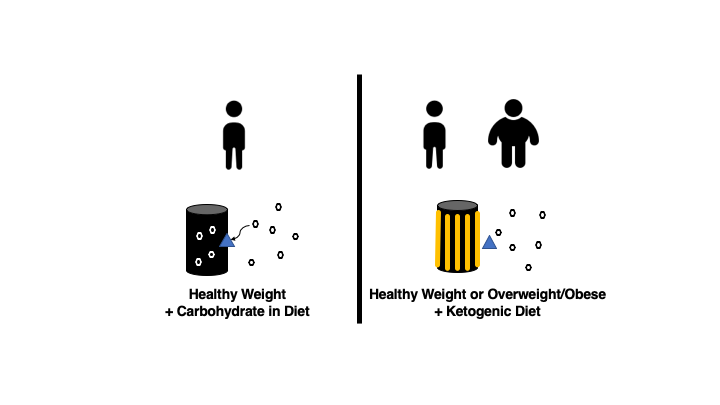A low-carbohydrate, high-fat (ketogenic) diet can decrease blood glucose levels but does not solve insulin resistance.