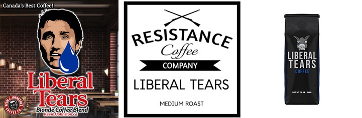 Branding for three different coffee blends from three different companies, all named Liberal Tears.