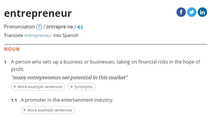 Oxford Dictionary Definition of Entrepreneur