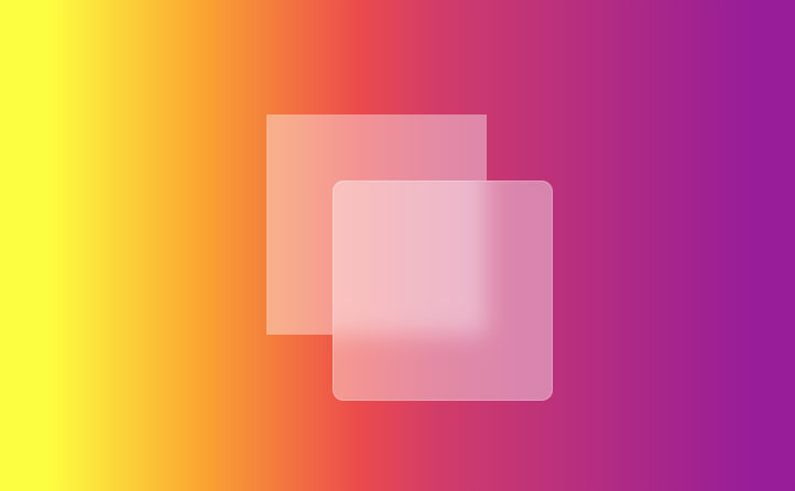 two squares that have had the backdrop-filter: blur() property applied to them, one with rounded corners and white border