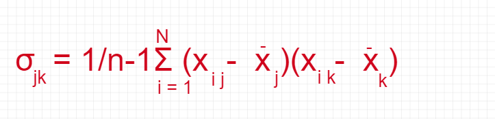 Figure 10: The equation to calculate the covariance between two attributes.