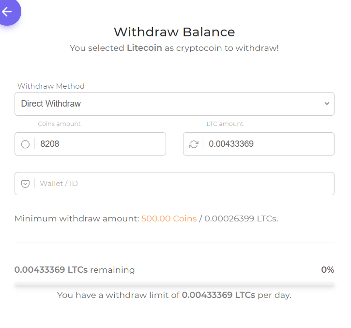 Litecoin withdrawl at FaucetCrypto.com