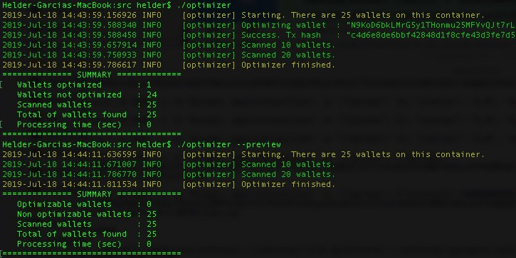 Running the optimizer for Cryptonote RPC Wallets