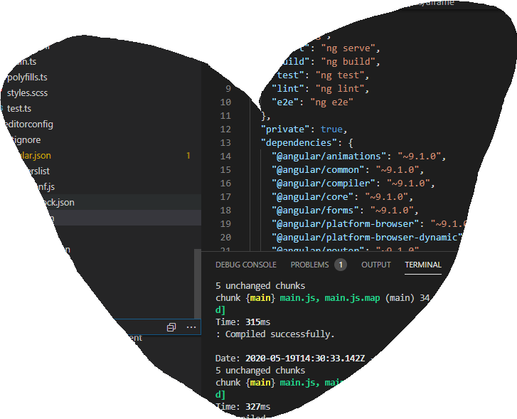An angular project in Visual Studio Code