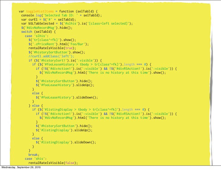 """JQuery code sample from """"The jQuery Divide""""—Rebecca Murphey (September 25th, 2010)"""