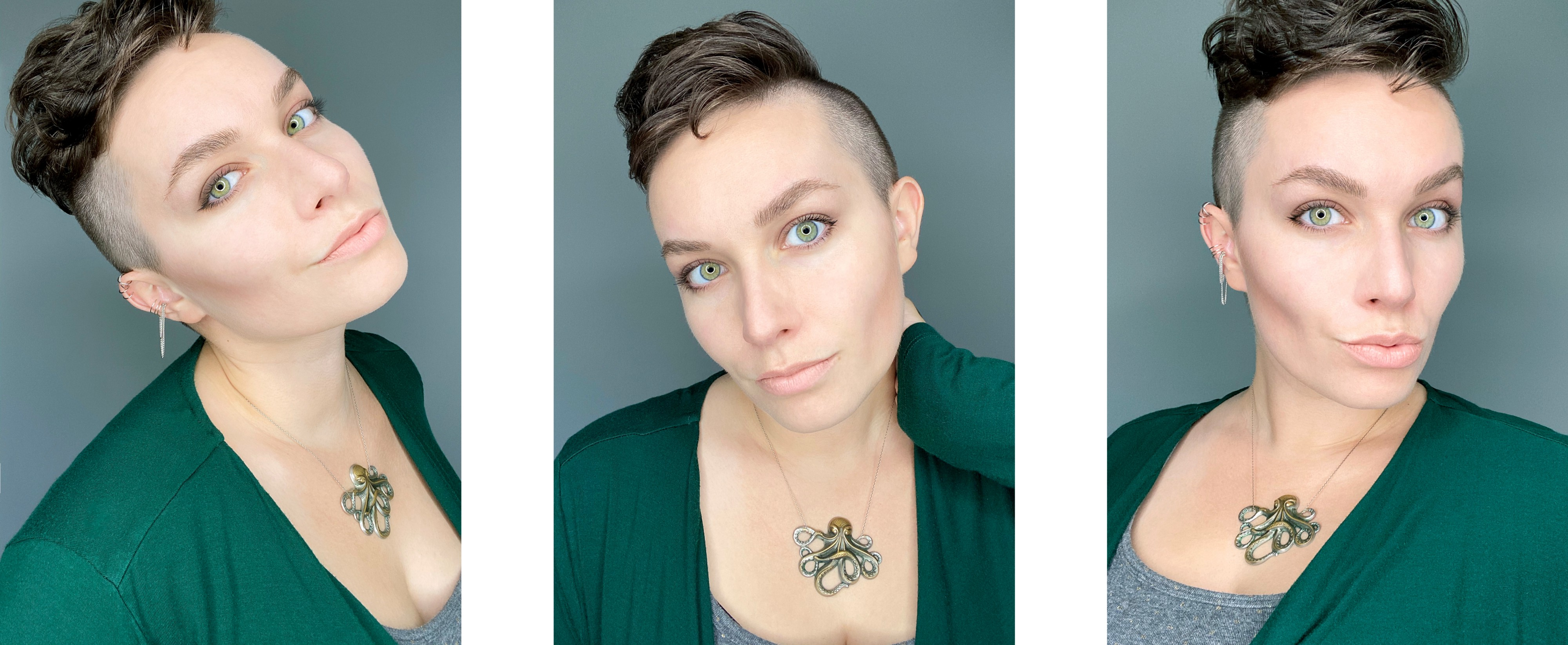 A triptych of a short-haired young woman's selfies where she's wearing a green blouse and an octopus necklace.