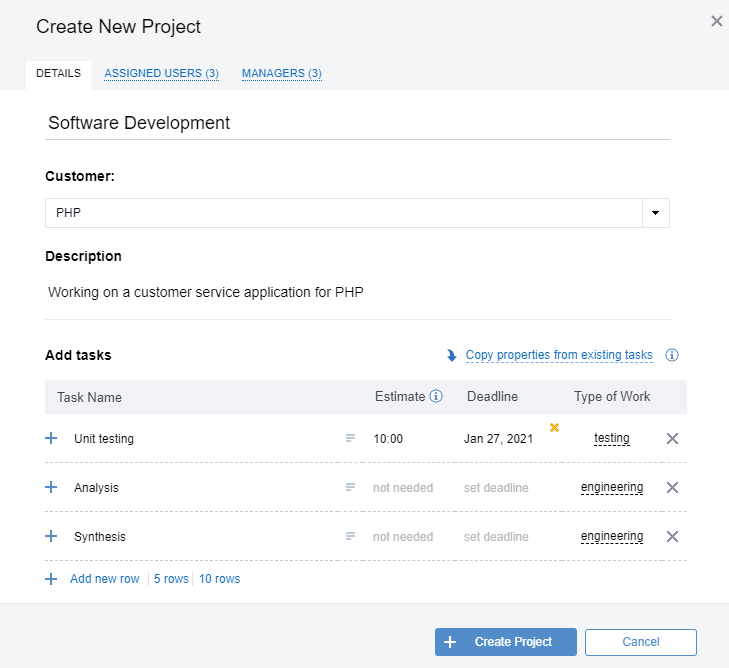 Create New Project in actiTIME