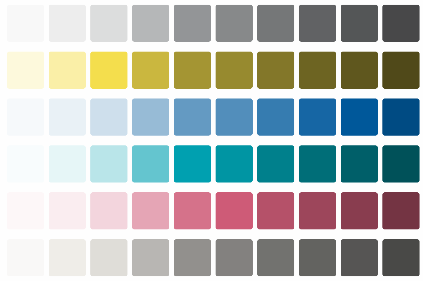 A palette based on Leonardo tool and our Aviary palette: each color has 10 variations of contrast.
