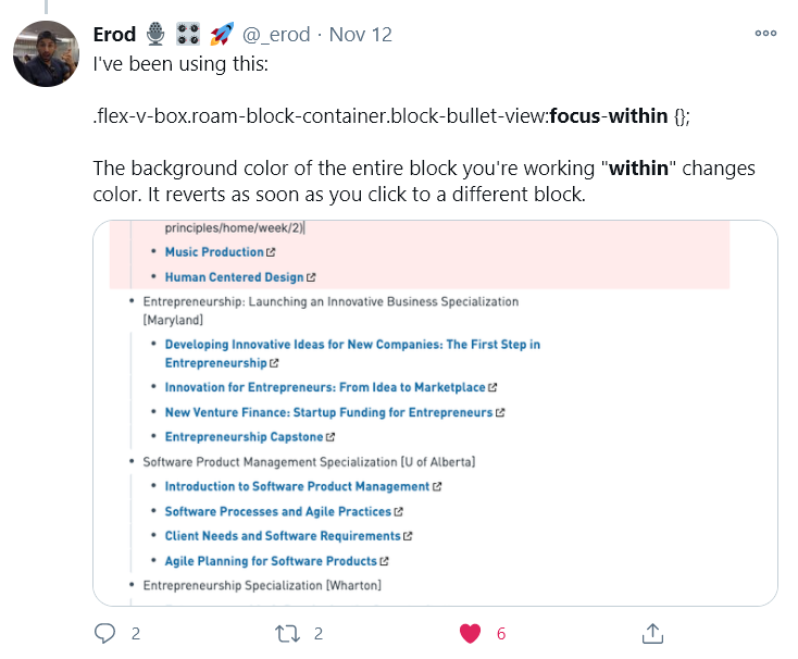 Erod's tweet showing the use of :focus-within
