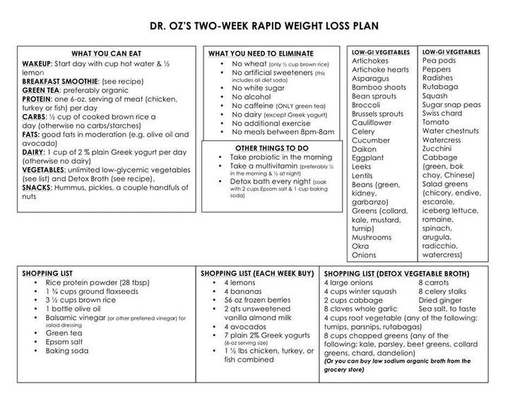 doctor oz rapid weight loss diet recipes
