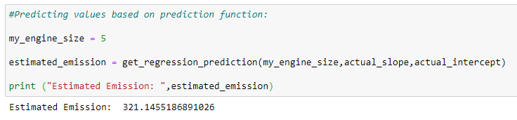 Figure 84: Predicting the values based on the prediction function.