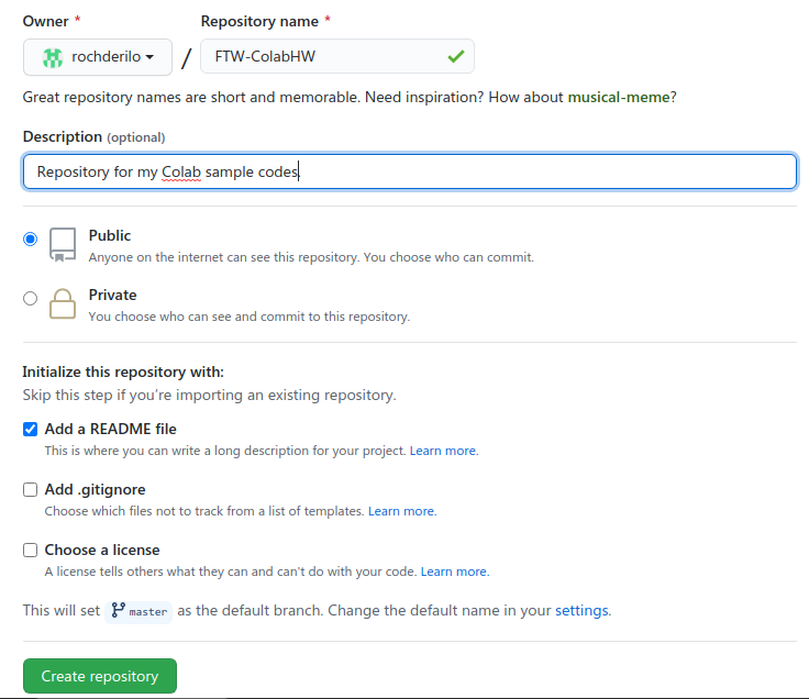 A screenshot showing how to create a repository on GitHub website.