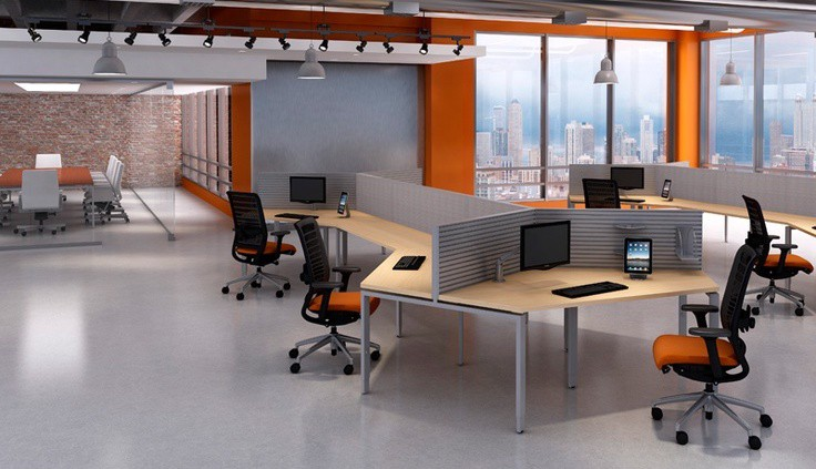 empty modern grey and orange office open space with city landscape view