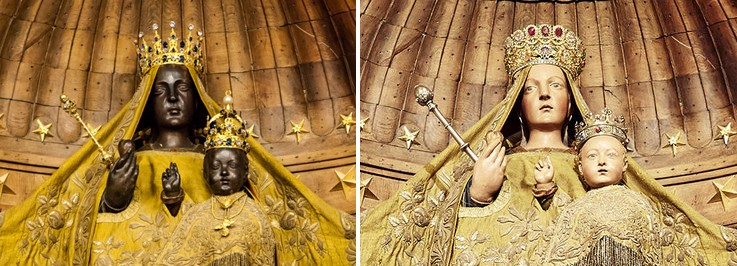 The same statue is depicted in two images. Left: The original Black Madonna & child. Right: The repainted white version.