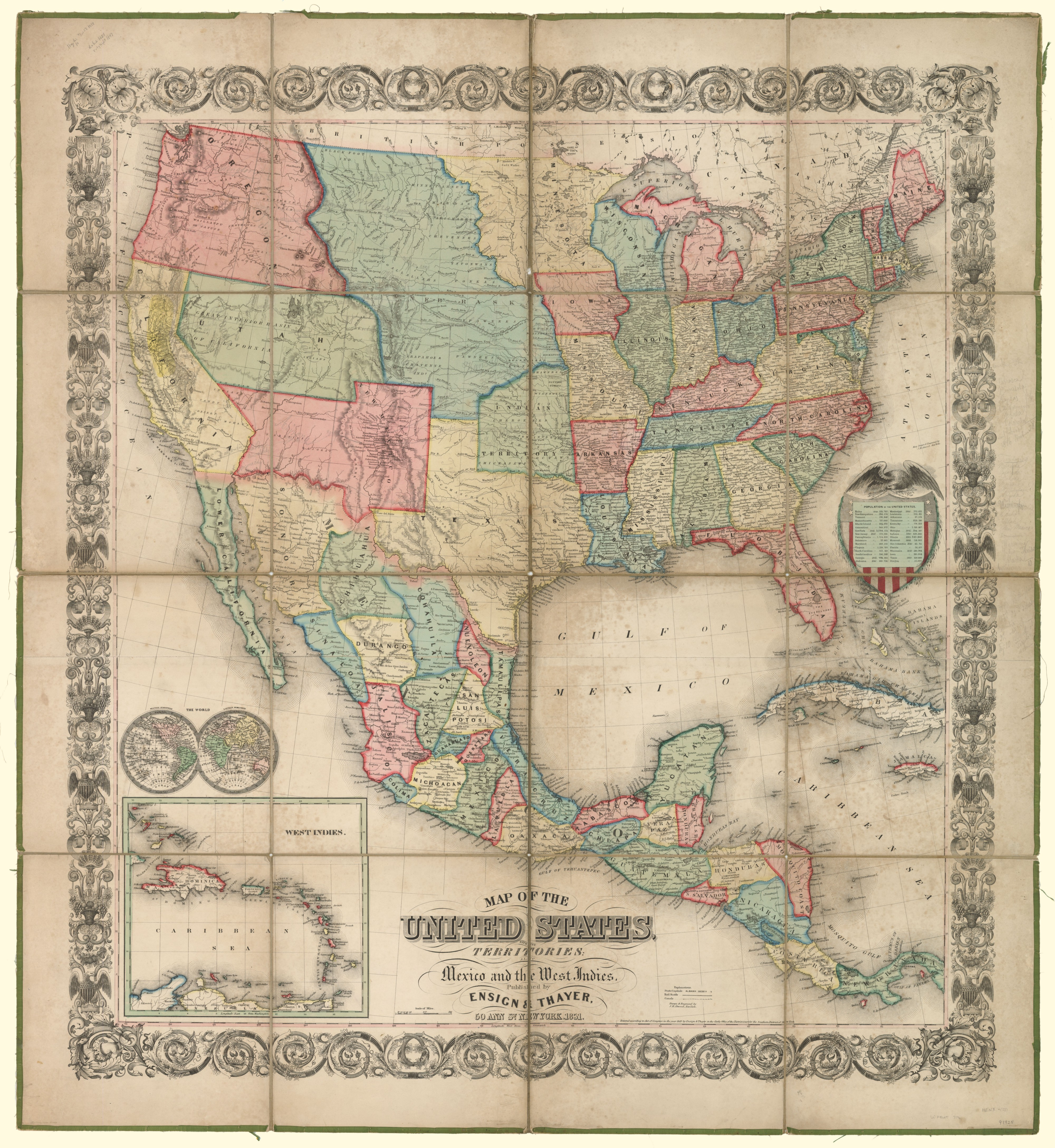 Map of the United States with its territories: also Mexico ...