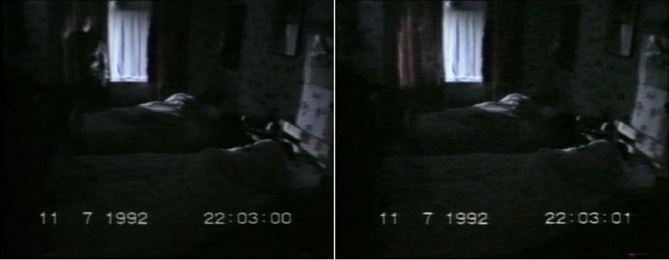 "A side-by-side comparison of two frames from 'Ghostwatch' — note the ""ghost"" by the curtains."