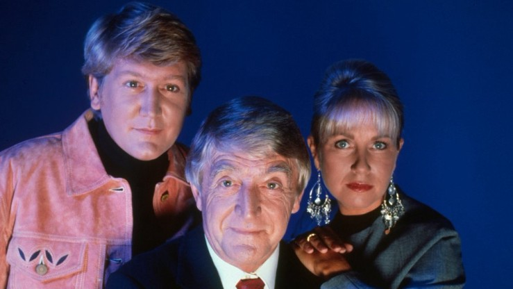 Michael Parkinson, Sarah Greene and Mike Smith, presenters of 'Ghostwatch' © BFI