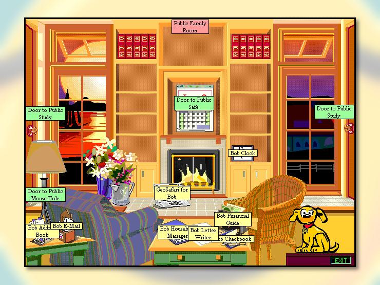 """A screenshot of Microsoft Bob, which organized basic task applications into a family room-like space. You click on a pen cup for email and a book lying on a table for your address book. The chairs, fireplace, and other elements of the room make it look more like a room but serve no discernable purpose. The two side walls of the room both have doors labeled """"Door to Public Study."""""""