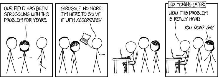 """An XKCD comic by Randall Monroe in which a wide-eyed person """"with algorithms!"""" tries to solve a thorny problem, and fails."""