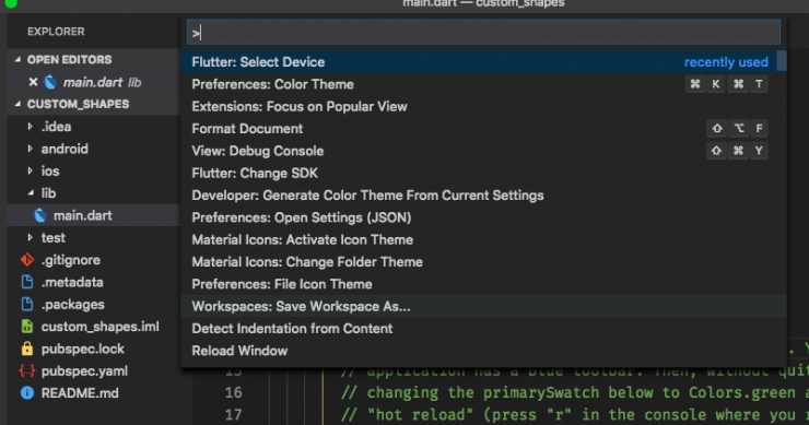Selecting the device option from the VSCode Command Pallete