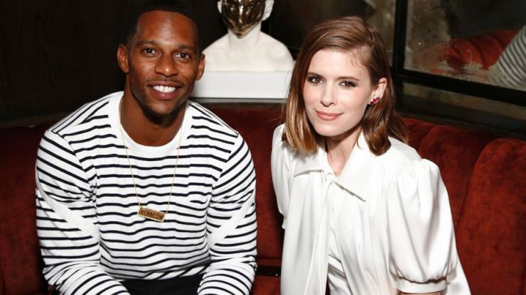 Victor Cruz and Kate Mara attend the NFL SUNDAY TICKET on DIRECTV 25th Season Kickoff Party at The Blond.