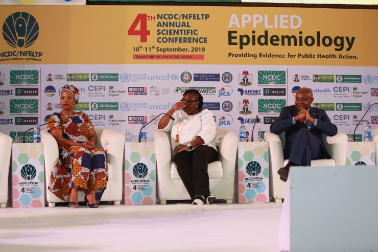 Valerie Nkamgang Bemo, Adaora Ikenze and Stanley Okolo at a plenary session of the NFELTP Conference. Photo credit: Nigeria H