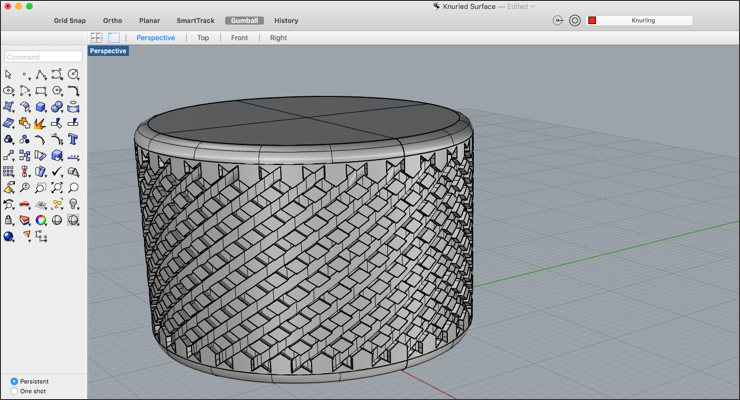 Create a Knurled Surface Texture in Rhino 3D - Drawing Post