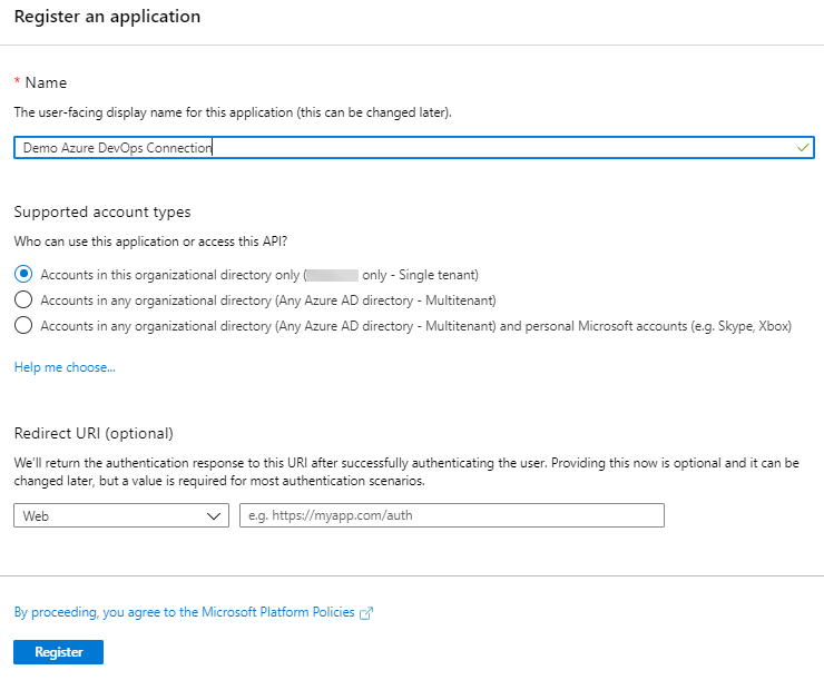 Image showing steps to register an app in Azure
