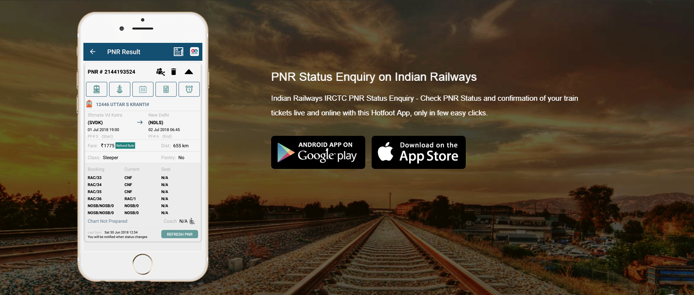running train app download