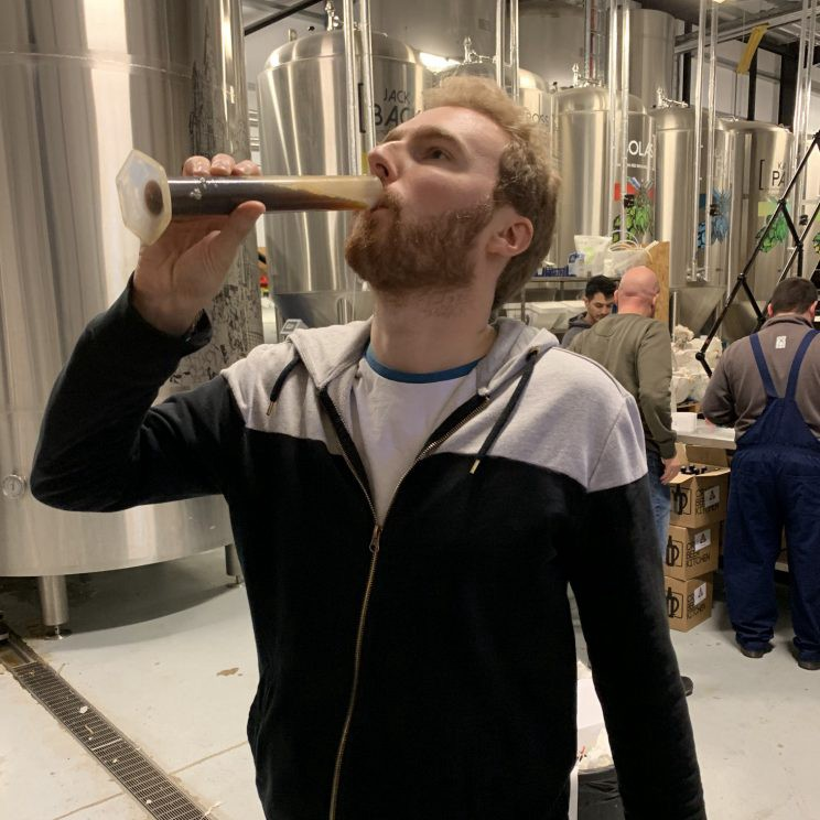 Me drinking beer from a test tube