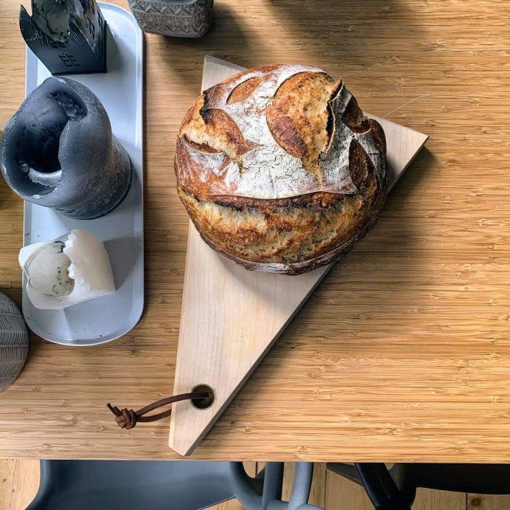Loaf of sourdough bread on our table